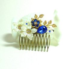 Sapphire Jeweled Hair Comb by LisamariesPiece