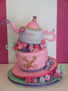 pretty mad hatter tea party cake
