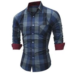 Dress Shirts Mens Stylish Long Sleeve Checkered Plaid Dress Shirt With Patchwork Collar Smart Casual Slim-fit Pure Cotton Button Down Shirts To Enjoy High Reputation In The International Market Shirts
