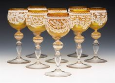 FINE SET EIGHT ANTIQUE ITALIAN VENETIAN SALVIATI LACEWORK YELLOW WINE GLASSES c.