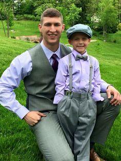 Groom. Ring bearer. Gray suit. Suspenders. Best. Purple. Hat. Bow tie.