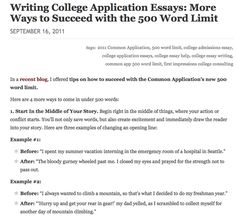 What information do you need to include in the essay that you write for admission to college?