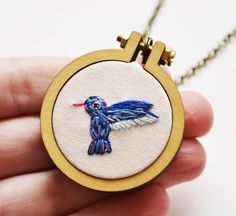 Hummingbird Necklace or Brooch Miniature Embroidery 4cm Hoop Art