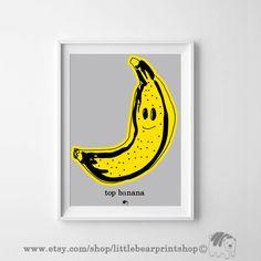 Items similar to Top Banana, Wall Art Prints, Printable Poster Art Kids Room Decor on Etsy Top Banana, Bear Print, Printable Art, Wall Art Prints, Posters, Etsy Shop, Interiors, Digital, Artwork