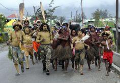 Manifestation le 2 Août pour l'indépendance de la Papouasie à Wamena Copyright: Eric Le Roux / 68 Arts Prod