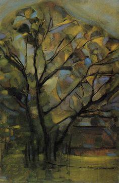 Piet Mondriaan | Tall Tree Silhouettes with Bright Colours, c. 1907-08 108 x 72.5 cm Oil on canvas Marion Koogler McNay Art Museum, San Antonio, Texas