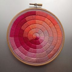 Satin stitched colourwheel hand embroidery by Corinne Sleight 2014