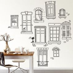 Hand Sketch Window Frames Wall Decal - Window Frames Decor - Window Frames Sticker - Vinyl Wall Stickers Art Graphics, Removable, 135