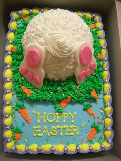 A fun Easter design...1/4 sheet vanilla cake with half ball vanilla cake on top for the Easter Bunny's rump. All buttercream except the bunny feet. Tons of fun to do! TFL!