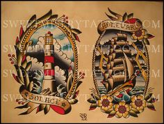 Ship and Lighthouse. Sweet Misery. Tattoos by Justin Davis.
