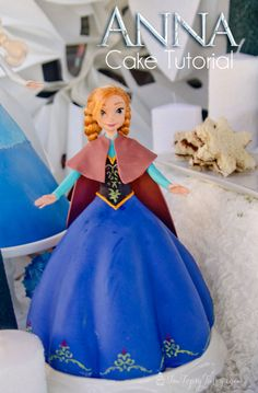 tutorial to create your own Anna princess cake for your Frozen birthday party