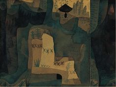 """Paul Klee  'Black Bell in the Forest' 1921 Watercolor, gouache and India ink on wove papers mounted on cardboard  5 7/8 x 7 5/8""""  Occasionally Klee would cut up his compositions and rearrange them. In this instance he cut a strip of paper from the left and reattached it on the right."""
