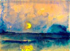 ca 1945 Emil Nolde (German, ~ Halbmond über dem Meer [Half moon over the sea]; watercolor and gouache over pencil, x cm Petit: g'night, good friends … sweetest dreams for you xo Emil Nolde, Oil Canvas, Guache, Art Moderne, Oeuvre D'art, Love Art, Online Art, Painting & Drawing, Art History