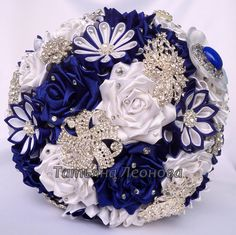 "Fabric Wedding Bouquet, Brooch bouquet ""Venus"", White and Royal blue"