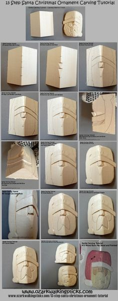 13-Step Santa Ornament Carving (tutorial infographic) | ozarkwalkingsticks http://www.ozarkwalkingsticks.com/santa-ornament-infographic/