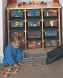 This is a great idea for organizing toys! Would be nice in a classroom too!