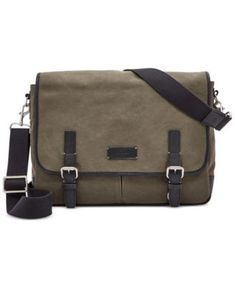 a989967643 Fossil Graham Canvas Messenger Bag   Reviews - All Accessories - Men -  Macy s