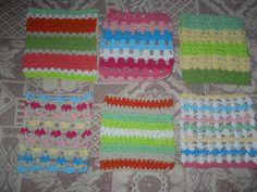 6 muestras de tejidos en cuadrados,para la manta hippie,tejidos entre el 09 y 10 de octubre