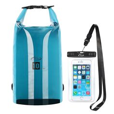 AiRunTech Waterproof Dry Bag, Roll Top Compression Sack with Phone Dry Bag Case and Long Adjustable Shoulder Strap Included for Outdoor Water Sports, Boating, Hiking