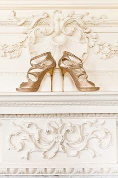 Shoes -- Jimmy Choo. See the wedding on http://www.StyleMePretty.com/destination-weddings/2014/04/08/romantic-british-wedding-at-brocket-hall/ Photography: Anushe Low - anushe.com