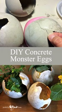 Make your DIY concrete monster eggs to use as planters or containers using balloons and RapidSet Cement. Each one is so unique Make your DIY concrete monster eggs to use as planters or containers using balloons and RapidSet Cement. Each one is so unique Concrete Candle Holders, Diy Concrete Planters, Cement Art, Concrete Cement, Concrete Crafts, Concrete Projects, Concrete Garden, Concrete Design, Diy Projects