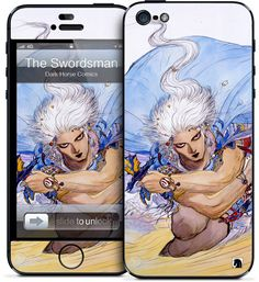 The Swordsman for iPhone 3GS, 3G,iPhone 4S/4,iPhone 4S, 4 HardCase and iPhone 5 by Yoshitaka Amano - Yoshitaka Amano has become the planets most accepted modern day artists. The Japanese illustrator has become celebrated for his work on the worldwide top selling series Vampire Hunter D as well as concept creation for the Final Fantasy video game series.