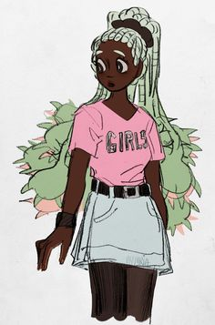 Black Girl Art, Black Women Art, Art Girl, Black Art, Pretty Art, Cute Art, Arte Black, Black Anime Characters, Doja Cat