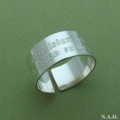 da3e176b7bf1 Personalized Wide Band Ring   Sterling Silver Thumb Ring