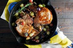 Juicy pan roast pork chops with grapes are a delicious – and easy – meal that will warm you up this winter.