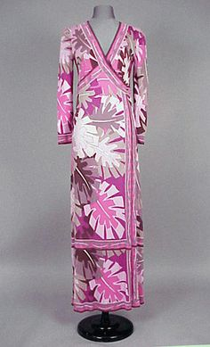 Pucci Evening Dress 1960s Silk jersey, floor length, a jumpsuit with overskirt wrapping from V surplice front, printed with stylized leaf pattern in shades of pink, magenta cocoa and black, size 8, labeled: Emilio Pucci/Florence-Italy.