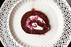 Raspberry and chocolate swiss roll