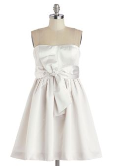 Dreamy Does It Dress. Carefully readying yourself for an exquisite, formal evening replete with living reveries, you tiptoe into the satin swathing of this elegant, pearl-white dress. #white #prom #wedding #bride #modcloth