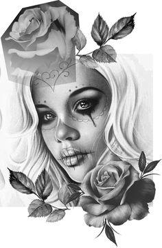 Clock Tattoo Design, Tattoo Design Drawings, Tattoo Sketches, Tattoo Designs, Skull Girl Tattoo, Girl Face Tattoo, Girl Tattoos, Chicano Tattoos, Chicano Art