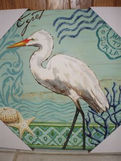 Egret painting on canvas from JoAnn Etc., 2011