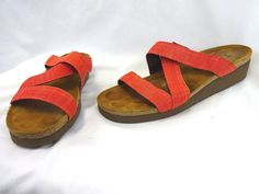 Naot Naomi Red Sandals Strappy Wedge Women's Size 41 VGUC  #NaotFootwear #SportSandals