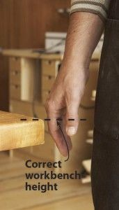 Rule of thumb guides best workbench height - ever wonder how to find the right height for me. Great tip!