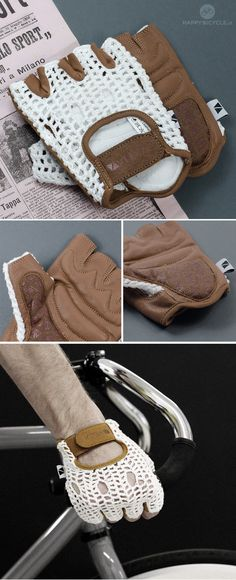 Retro Bicycle Gloves | Stylish leather and crochet gloves. Vintage Form, Modern Feel. http://www.happybicycle.pt