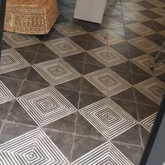 Clients project nearing completion using our Spanish floor tiles . Clients project nearing completion using our Spanish floor tiles . Spanish Tile Kitchen, Lantern Tile, Laundry Room Tile, Painting Tile Floors, Stenciled Floor, Geometric Tiles, Black And White Tiles, Design Your Dream House, Bathroom Kids