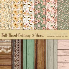 Fall floral patterns & Wood. Floral Patterns. Wood backgrounds. Printable patterns. 12 images, 300 Dpi. Jpg, Png files. Instant Download. by Graphikcliparts on Etsy
