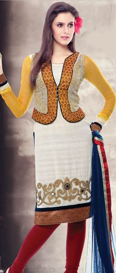 Off #White and #Yellow #Cotton Readymade #Churidar Kameez @ $161.48