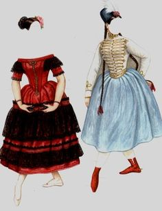 "FANNY Elssler (1810-1884), one of the most talented and celebrated ballerinas of the Romantic period. Paper Doll is based on an actual ballerina famous in the 1830s. The twist here is ""Fanny"" can be made into a real fan!. from Historical Figures Paper Dolls by Brenda Sneathen Mattox  [The Gypsy and The Spanish Dancer]"