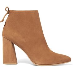 Stuart Weitzman Grandiose suede ankle boots ($615) ❤ liked on Polyvore featuring shoes, boots, ankle booties, sapatos, stuart weitzman, brown, short suede boots, high heel booties, block heel booties and suede bootie