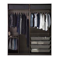 "PAX Wardrobe, black-brown, Auli Sekken - 78 "" - IKEA To Try to make from plywood Pax Corner Wardrobe, Walk In Wardrobe, Wardrobe Design, Pax Planer, Armoire D'angle, Wardrobe Systems, Soft Closing Hinges, Plastic Shelves, 10 Years"