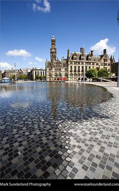 City Park Fountains and City Hall Bradford West Yorkshire England