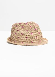 Woven Straw Fedora - Pink Dot - Hats - & Other Stories Straw Fedora, Fedora Hat, Striped Swimsuit, Gold Dots, Fashion Story, Knit Or Crochet, Weaving, Purple, Hats