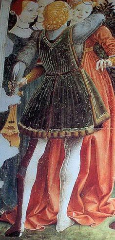 Parti-coloured hose are worn with a sideless overgown belted at the waist. Italy, c. 1470.