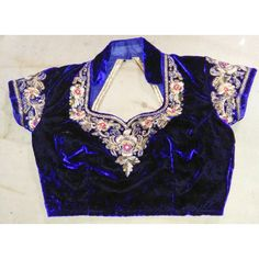Readymade Designer Royal Blue Color Velvet Padded Saree Blouse With... ($33) ❤ liked on Polyvore featuring tops, blouses, black, women's clothing, velvet blouse, padded top, electric blue blouse, royal blue tops and black velvet top