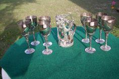 Godinger Set of 8 Silver Plated Wine Goblets Holder Grape Leaf Design Vintage | eBay
