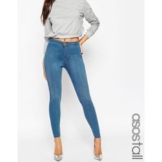 ASOS TALL Rivington High Waist Denim Jeggings in Orchid Wash (958.900 VND) ❤ liked on Polyvore featuring pants, leggings, blue, white high waisted leggings, high-waisted jeggings, denim jeggings, blue jean leggings and white high waisted jeggings