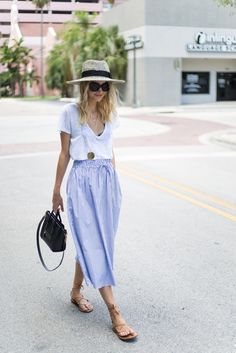 Little Blonde Book by Taylor Morgan | A Life and Style Blog : Favorite Skirt. White top+striped midi skirt+brown lace up sandals+straw hat+black shoulder bag. Summer outfit 2016